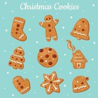 Christmas cookies collection. Ginger cookies. Gingerbread. Vector illustration.