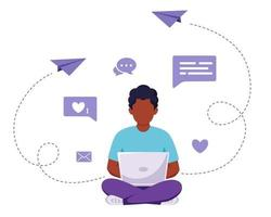 Afro american man sitting with laptop. Freelance, online studying, remote work concept. Vector illustration