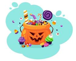 Happy Halloween. Pumpkin with creepy sweets and candies. Vector illustration in flat style.