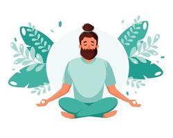 Man meditating. Healthy lifestyle, yoga, meditation, relax, recreation. Vector illustration.