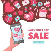 Valentine's Day sale. Hand with telephone. Vector illustration
