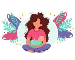 mujer sosteniendo bebé recién nacido. concepto de maternidad. día de la Madre. ilustración vectorial en estilo plano. vector