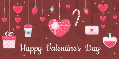 Happy Valentines Day greeting card. Valentines Day elements. Vector illustration.