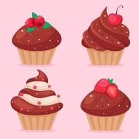 Chocolate cupcakes with strawberries, raspberries, cherries, currants. Valentine's Day cupcakes. Vector illustration
