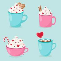 Happy Valentine's Day. Valentine's Day hot drinks collection. Vector illustration.