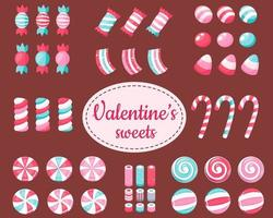 Feliz día de San Valentín. gran juego de dulces y caramelos de san valentín. ilustración vectorial. vector