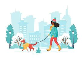 Black woman walking with dog. Winter outdoor activity. Vector illustration