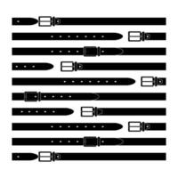 belt - flat vector illustration. the leather product is buttoned and unfastened.