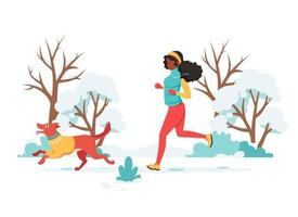 Black woman jogging with dog in winter. Outdoor activity. Vector illustration