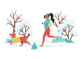 Woman jogging with dog in winter. Outdoor activity. Vector illustration