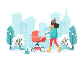 Black woman walking with baby carriage in winter. Outdoor activity. Vector illustration