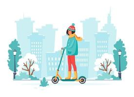 Woman riding electric kick scooter in winter. Eco transport concept. Vector illustration