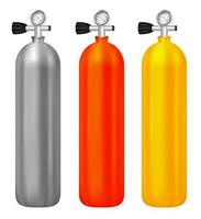 real gas tanks with meter on white background vector