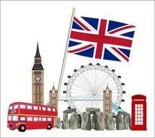 set of icons and landmarks of united kingdom vector