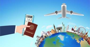 agarre de mano pasaporte de embarque y puntos de referencia del mundo vector