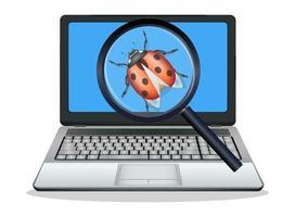 laptop found computer bug vector