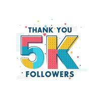 gracias celebración de 5k seguidores, tarjeta de felicitación para 5000 seguidores sociales. vector