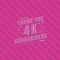gracias celebración de suscriptores de 4k, tarjeta de felicitación para 4000 suscriptores sociales. vector