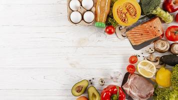 Top view of meats with vegetables and copy space photo