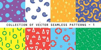 Colorful vector collection seamless patterns. Bright stylish textures