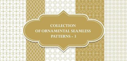 Collection of repeatable ornamental vector patterns. Geometric oriental backgrounds