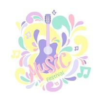 Illustration in pastel colors with acoustic guitar and hand lettering. Great element for music festival vector