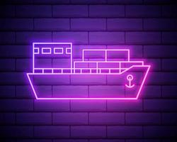 cruise ship liner neon icon. Elements of turizm set. Simple icon for websites, web design, mobile app, info graphics isolated on brick wall vector