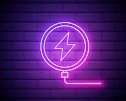 Glowing neon line Smartphone charging on wireless charger icon isolated on brick wall background. Charging battery on charging pad. Vector Illustration
