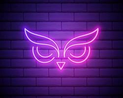 owl, bird, education outline icon in neon style. elements of education illustration line icon. signs, symbols can be used for web, logo, mobile app, UI, UX isolated on brick wall vector