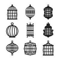 paquete de vectores de silueta de jaula de pájaros