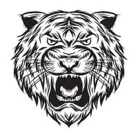 black white tiger head vector illustration