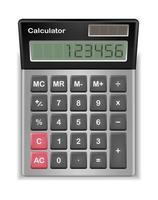 calculadora real con número digital de muestra vector