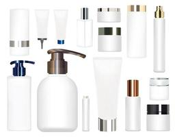 real white cosmetic tubes on a white background vector