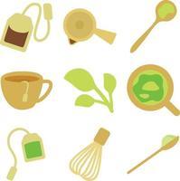 green tea flat design vector set