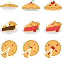 pastel de pastel conjunto de vectores de diseño plano