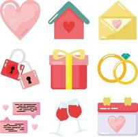 wedding icon flat design vector set