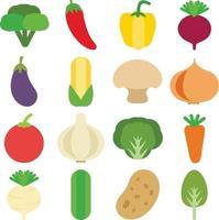 vegetables flat design vector set