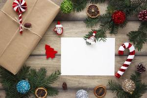 Wrapped gift next to card mockup photo