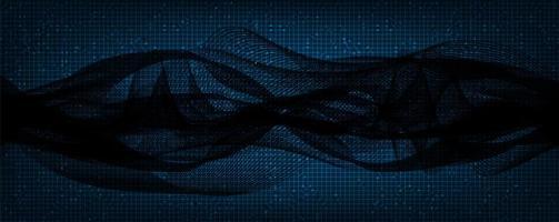 Onda de sonido digital oscuro sobre fondo azul. vector