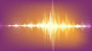 Onda de terremoto digital sobre fondo naranja vector