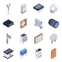 conjunto de iconos isométricos de componentes eléctricos vector