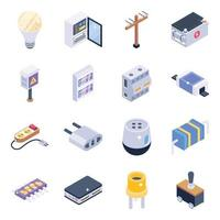 Electrical Elements Isometric icon set vector