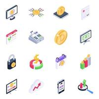 conjunto de iconos isométricos de análisis de bitcoin vector