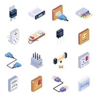 Electricity Devices and Elements isometric icon set vector
