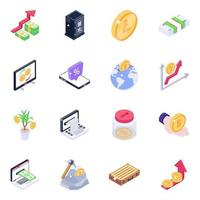 Bitcoin and Technology isometric icon set vector