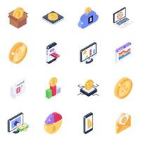 Cryptocurrency Technology Isometric icon set vector