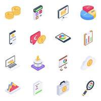 conjunto de iconos isométricos de estadísticas comerciales vector