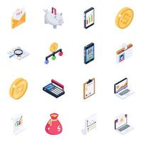 Banking Equipment and Business Analytics isometric icon set vector