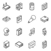 Multimedia and Elements isometric icon set vector