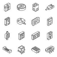 conjunto de iconos isométricos de hardware y herramientas vector